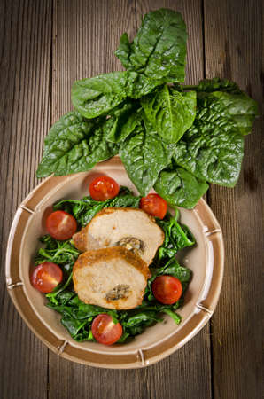 Spinach with meat beef olive photo