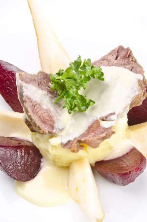 horseradish sauce: Beef with horseradish sauce Stock Photo