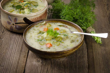 Polish pickled cucumbers soup photo