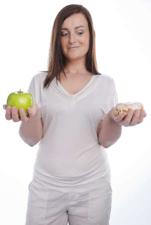 woman with apfel and cake photo