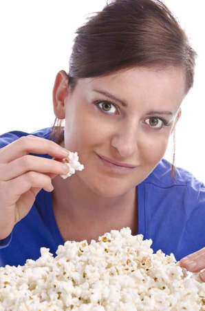 woman with popcorn photo