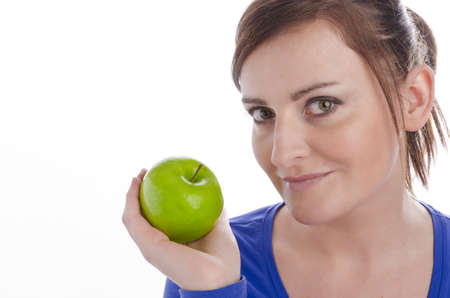 Woman with green apple Stock Photo - 12913909