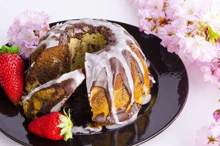 marble cake with cherries photo