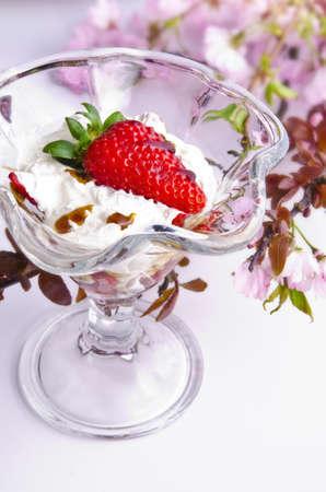 Strawberries with cream photo