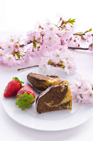 marble cake with cherries photo