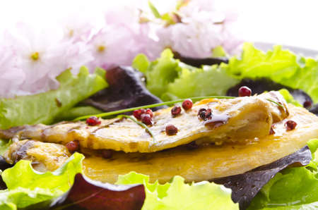 roasted one fish with balsamico cream ones photo