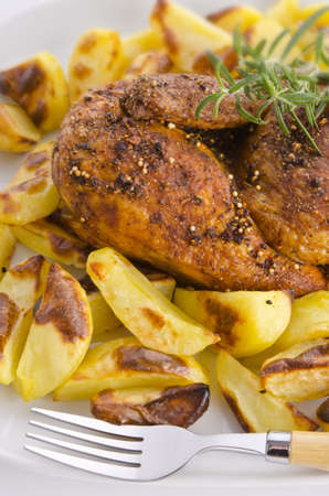 chickens roast with baking potatoes photo