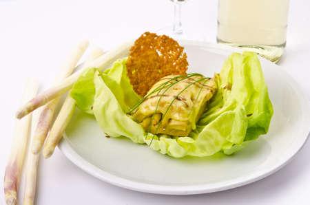 Turkey s shreds with asparagus brown Stock Photo - 13856253