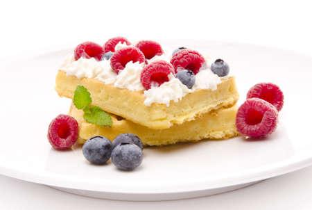 wafel met fruit Stockfoto