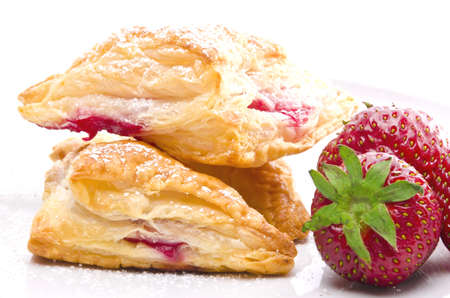 puff pastry pockets with strawberry filling photo