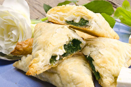 cakes with spinach and feta cheese photo