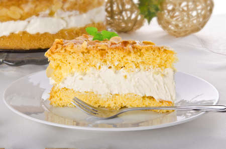 flat cake with an almond and sugar coating and a custard or cream filling Stock Photo - 14394821