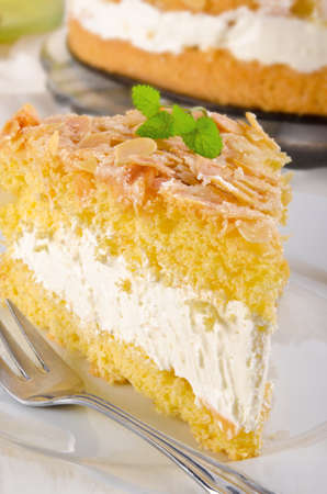flat cake with an almond and sugar coating and a custard or cream filling Stock Photo - 14399164