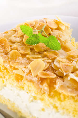 flat cake with an almond and sugar coating and a custard or cream filling Stock Photo - 14399173