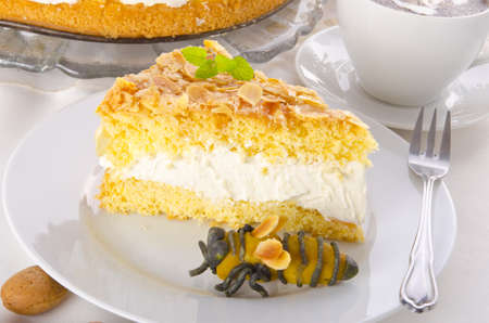 flat cake with an almond and sugar coating and a custard or cream filling Stock Photo - 14399137