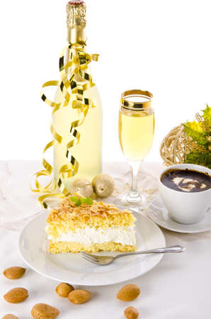 champagne and cake Stock Photo - 14399120