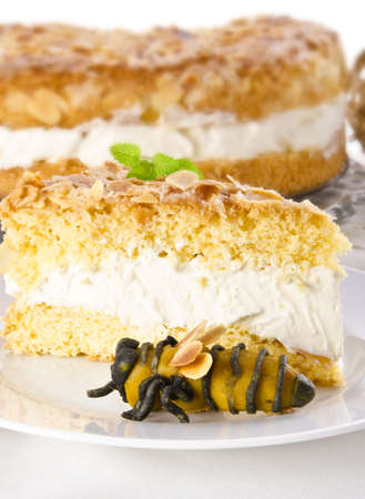 flat cake with an almond and sugar coating and a custard or cream filling Stock Photo - 14433771