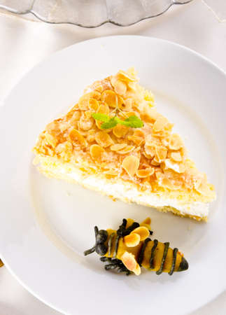 flat cake with an almond and sugar coating and a custard or cream filling photo