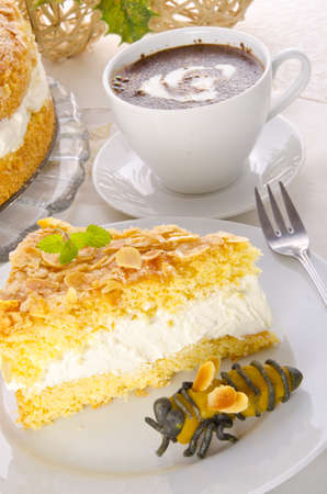 flat cake with an almond and sugar coating Stock Photo - 14433858