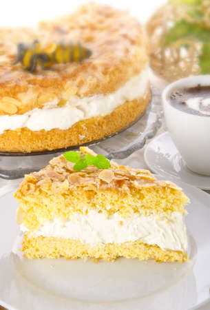 flat cake with an almond and sugar coating  Stock Photo - 14433853