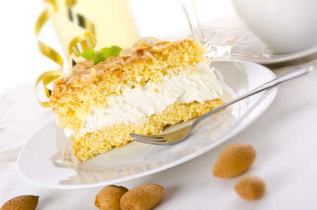flat cake with an almond and sugar coating  Stock Photo - 14433852