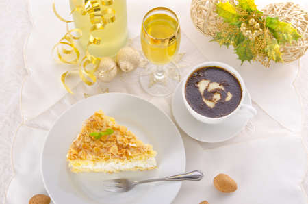 flat cake with an almond and sugar coating  Stock Photo - 14433861