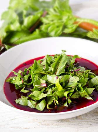 Vegetable soup from young, fresh sheets of the beetroot Stock Photo - 14486618