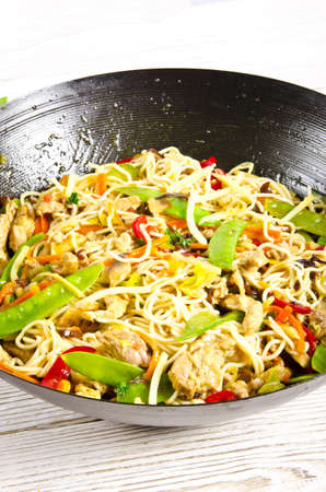 Asian noodles with meat photo