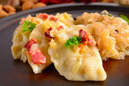 Pierogi Polish  dish pierogi with sauerkraut and mushrooms Stock Photo - 15887348