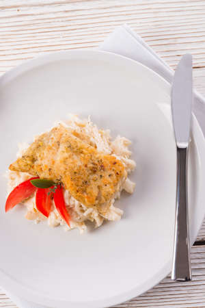 the baked fish with celery salad photo