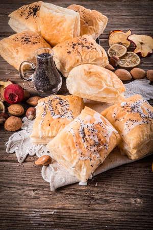 danish puff pastry: puff pastry with cinnamon sugar Stock Photo