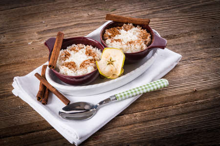 milk rice with cinnamon and applesauce photo