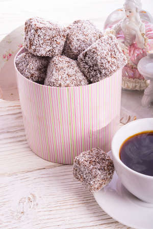 gingerbreads with chocolate  and coconut photo