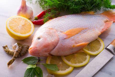 nile tilapia: Freshness reddens the Nile Tilapia fish  Oreochromis niloticus