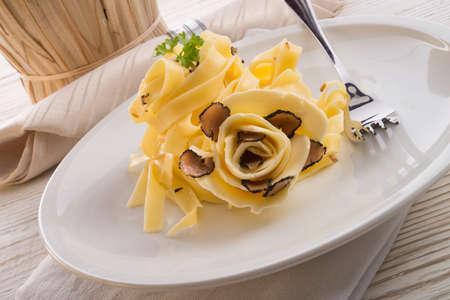 tagliatelle with summer truffle  Archivio Fotografico