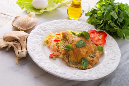savoy cabbage: baked oyster mushrooms with fresh savoy cabbage salad