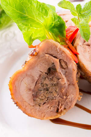 Turkey s beef olive with ham-sweet chestnut filling photo