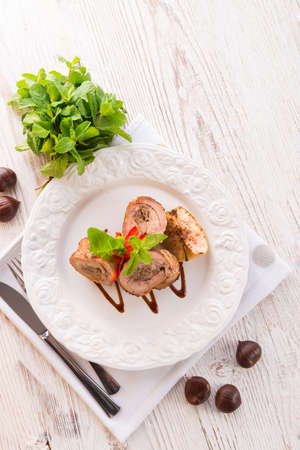 Turkey s beef olive with ham-sweet chestnut filling Stock Photo - 17820180