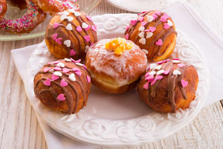 bismarck doughnuts on a plate Stock Photo - 17820210