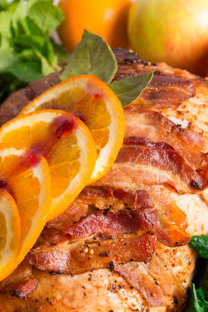 baked turkey with chestnut filling and orange photo