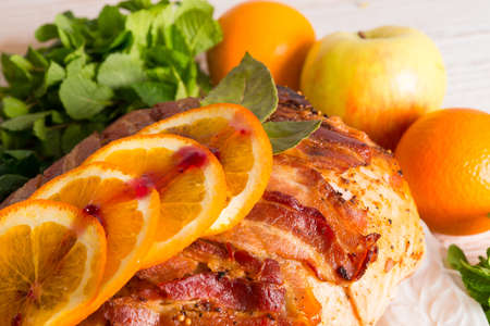 baked turkey with chestnut filling and orange Stock Photo - 17939400