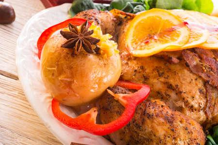baked turkey with chestnut filling and orange Stock Photo - 17939485