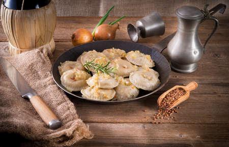 pierogi with meat and buckwheat groats Stock Photo - 18410404