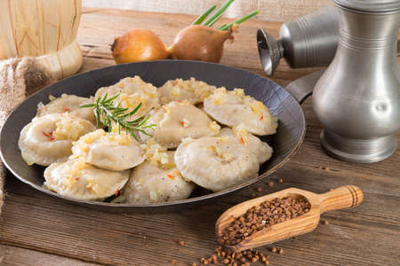 pierogi with meat Standard-Bild