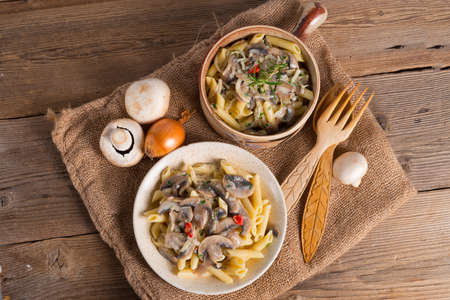 penne and mushroom sauce photo