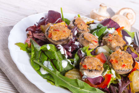 Grilled stuffed MUSHROOMS with colourful salad Stock Photo - 20333605