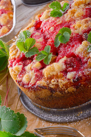 Strawberry buttermilk cake with pistachios photo