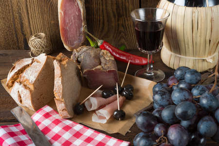 alimentation: Ham, wine and bread Stock Photo