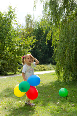 small girls with aerial balloon photo