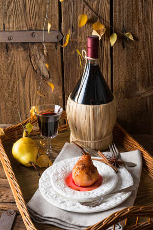 Pears with red wine photo